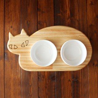 【ミニサイズ】木製ネコ型 フードテーブル(フードボウル12.5cm付/ダブル)13.CATS.WORKSオリジナル