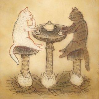 ●猫とネコの絵本シリーズ● 猫とネコのティータイム ポストカード