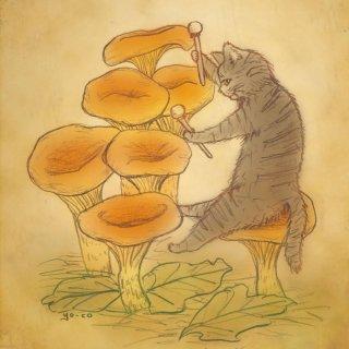 ●猫とネコの絵本シリーズ● タイコをたたくネコ ポストカード