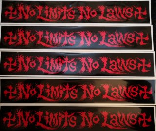 NO LIMITS NO LAWS STICKER RED