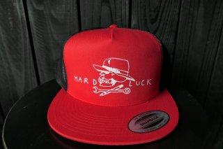 Hard Luck Hard Skull Mesh Trucker Hat - Red/Black
