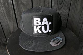 Skull Skates BA. KU. Stacked Block Mesh Trucker Hat - Black