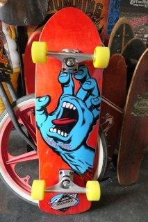 Santa Cruz Screaming Hand 80s Cruzer Complete Skateboard - Red Stain 9.42x31.88