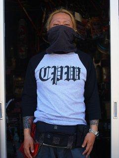 CPWロゴ ベースボールTシャツ グレー×黒