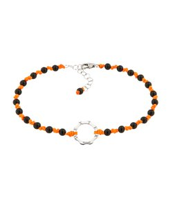 DEXTER milano/デクスター ミラノ|Anklet with silver and stone-onix and fluo orange