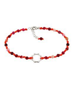 DEXTER milano/デクスター ミラノ|Anklet with silver and stone-pink agata and fluo red