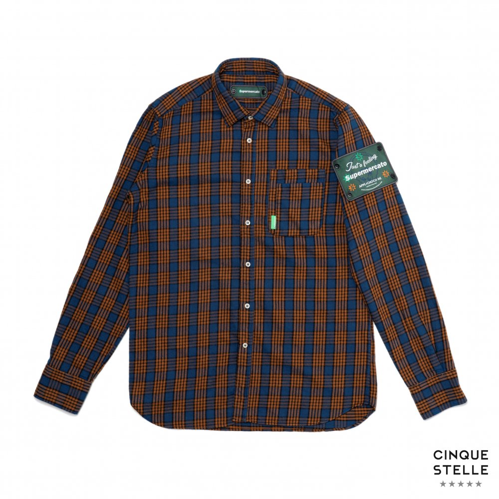 Supermercato スーペルメルカート|SUA19-FLANNELSHIRT-ORANGE/BLUE | UNISEX