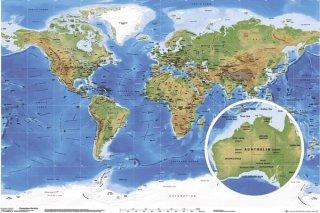 世界地図(地形図) ポスター