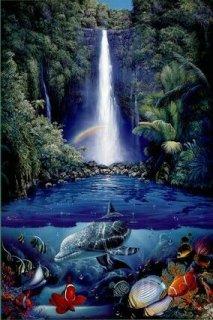 ラッセン「kahana falls」 ポスター