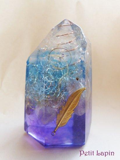 ポイント型オルゴナイト 藍〜パープルグラデーション (アメジスト、天使の羽モチーフ)