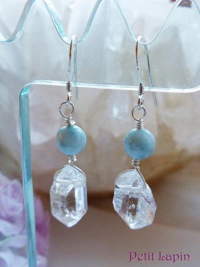 ラリマーとハーキマーダイヤモンドのピアス