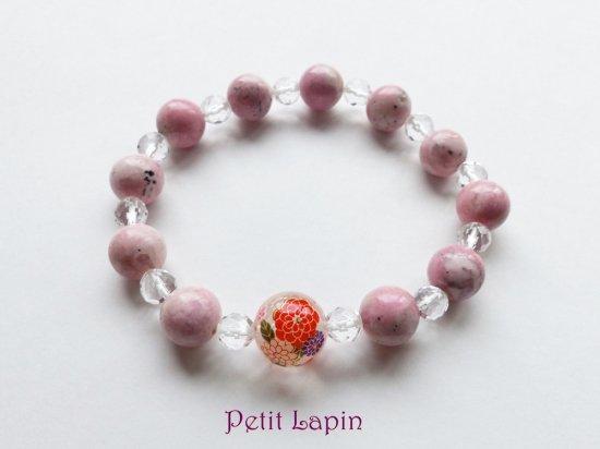 花柄水晶とベビーピンク・インカローズのブレスレット