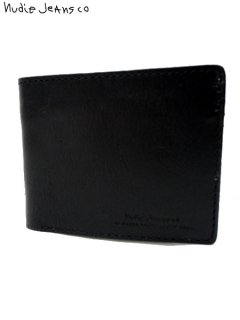 【nudie jeans(ヌーディージーンズ)】 CALLESSON LEATHER WALLET (レザーウォレット) Black