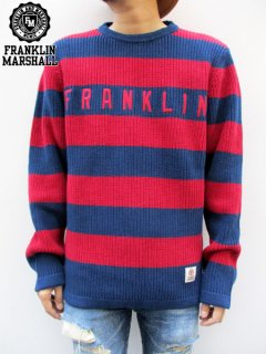 【FRANKLIN&MARSHALL】 WIDE BORDER KNIT SWEATER (ワイドボーダーセーター) Navy
