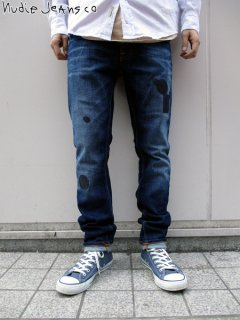 【nudie jeans(ヌーディージーンズ)】 TILTED TOR - PATCH MENDED (スリムストレートデニムパンツ) Indigo