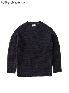 【nudie jeans(ヌーディージーンズ)】 Hans - Structure Knit (ウールセーター) Black/Blue
