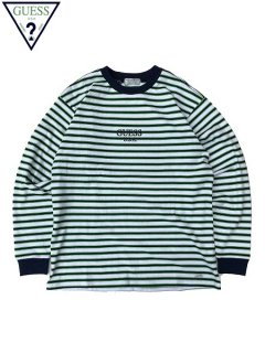 <img class='new_mark_img1' src='//img.shop-pro.jp/img/new/icons20.gif' style='border:none;display:inline;margin:0px;padding:0px;width:auto;' />50%OFF 【GUESS GREEN LABEL(ゲス グリーンレーベル)】 LIME BORDER LONG SLEEVE TEE (ボーダー長袖Tシャツ) White Green