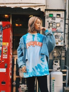【TRAVS(トラビス)】 Tie Dye Policia L/S TEE (タイダイ長袖Tシャツ) Blue