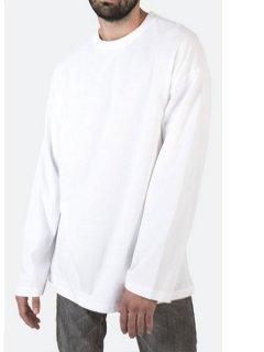 【mnml(ミニマル)】 DROP L/S TEE (ボックスシルエット無地長袖Tシャツ) White