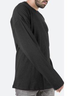 【mnml(ミニマル)】 DROP L/S TEE (ボックスシルエット無地長袖Tシャツ) Black