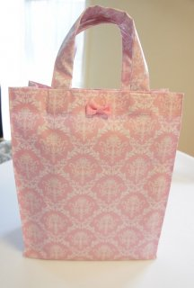 Damask Laminate Totebag (pink)