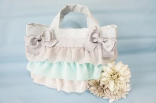 Ribbon frill��Bag��powder��gray��