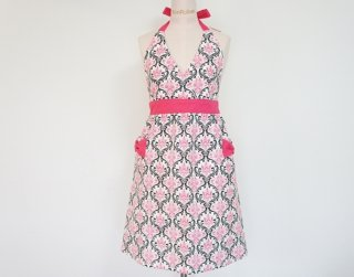 Black & Pink Damask Dress Apron