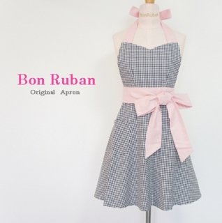 Gingham Check Big Ribbon Apron
