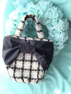 Tweed Ribbon Bag [BonRuban&CandyFabric]Black