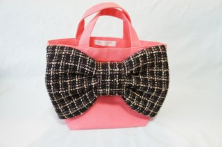 Bon Ruban & Candy Fabric〜Tweed Ribbon Bag〜SalmonPink[Black Gold]