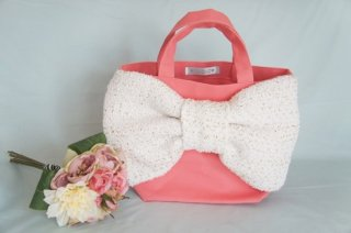 Bon Ruban & Candy Fabric〜Tweed Ribbon Bag〜 Salmon Pink[White Gold]