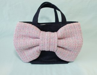 Bon Ruban & Candy Fabric〜Tweed Ribbon Bag~Denim[Pink Gray]