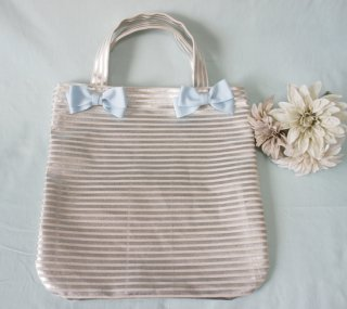 Glitter Ribbon Bag (silver×aquablue)