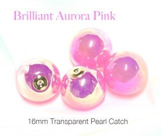 2個(1ペア)Brilliant Aurora Sakura Pinkオーロラピンクキャンディーカラー16mmピアスキャッチ