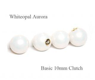 4個(2ペア)純白なWhiteopalホワイトオパールカラー10mmピアスキャッチ