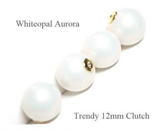 4個(2ペア)純白なWhiteopalホワイトオパールカラー12mmピアスキャッチ