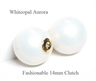 2個(1ペア)純白なWhiteopalホワイトオパールカラー14mmピアスキャッチ