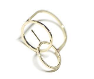 【1個】Duo Circle重なる円形ピートン付きゴールドリング製作台