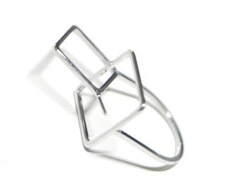 【1個】Duo Square重なる正方形ピートン付きシルバーリング製作台