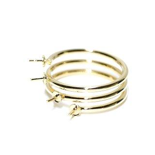 【2個入り】4本ピートン付き3連タイプのゴールド指輪、リング製作パーツ