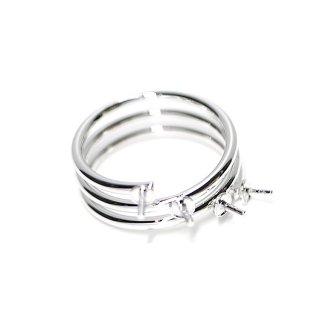 【2個入り】4本ピートン付き3連タイプのシルバー指輪、リング製作パーツ