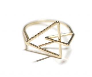 【1個】Duo Triangle重なる三角形ピートン付きゴールドリング製作台