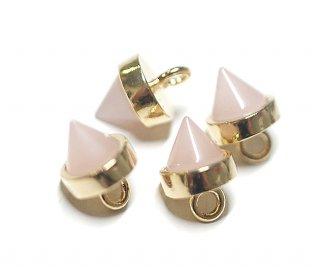 【2個入り】Petit Triangle立体的な三角形パステルピンクカラーGlassゴールドチャーム|アクセサリーパーツ