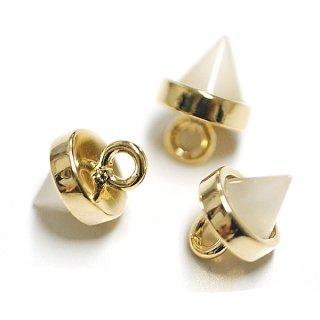 【2個入り】Petit Triangle立体的な三角形ホワイトスモークカラーGlassゴールドチャーム|アクセサリーパーツ