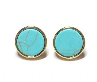 【2個(1ペア)】1点もの〜天然石ターコイズ(Turquoise)風円形Circleゴールドシルバー925刻印ピアス