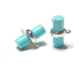 【2個(1ペア)】1点もの!天然石ターコイズ(Turquoise)風スティック形シルバー925刻印ピアス