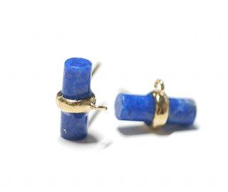 【2個(1ペア)】1点もの!天然石ラピスラズリ (lapis lazuli) スティック形ゴールド シルバー925刻印ピアス