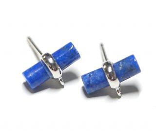 【2個(1ペア)】1点もの!天然石ラピスラズリ (lapis lazuli) スティック形シルバー925刻印ピアス