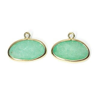 【2個入り】1点もの!翡翠(Jade)楕円形ゴールドチャーム、パーツ