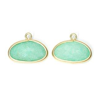 【2個入り】1点もの!翡翠(Jade)楕円形マッドゴールドチャーム、パーツ